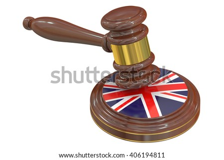 Wooden Gavel with United Kingdom Flag, 3D rendering - stock photo