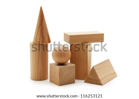 wooden geometric shapes  isolated on a white background - stock photo