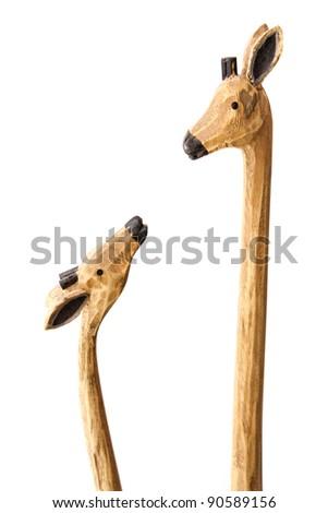 wooden giraffes - stock photo