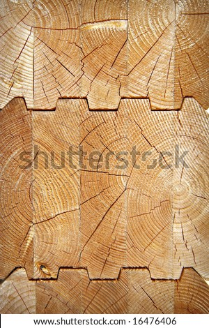 Wooden glued log in a cut - stock photo