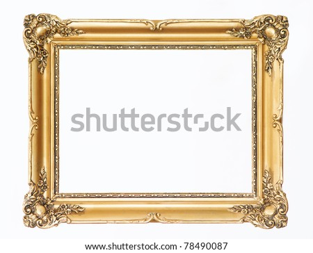 Wooden gold frame - stock photo