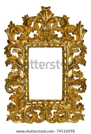 Wooden gold frame with a beautiful carving - stock photo