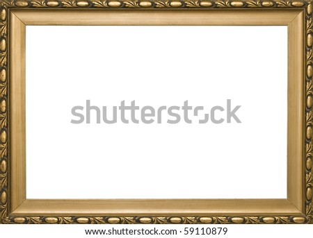 wooden golden classic frame on white background - stock photo