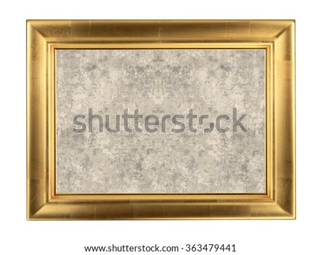 Wooden golden frame isolated on white background - stock photo