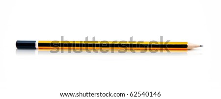 Wooden graphite black and yellow pencils over a white background - stock photo