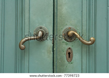 Wooden green door - stock photo