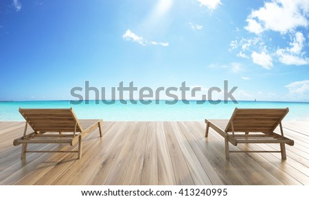 Wooden ground with two chaise longues on sea and skies background. 3D Rendering - stock photo
