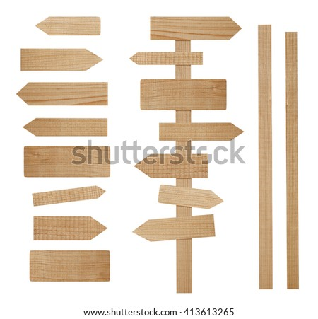 Wooden guidepost with separate parts for assembling - stock photo