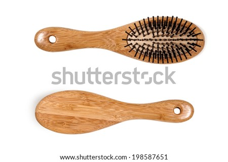 Wooden Hair Comb, Beauty Object, Isolated - stock photo