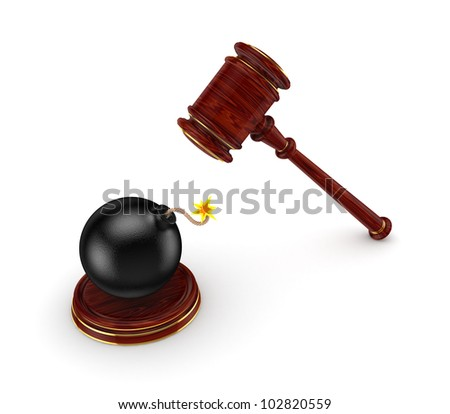 Wooden hammer and black bomb.Isolated on white background.3d rendered. - stock photo