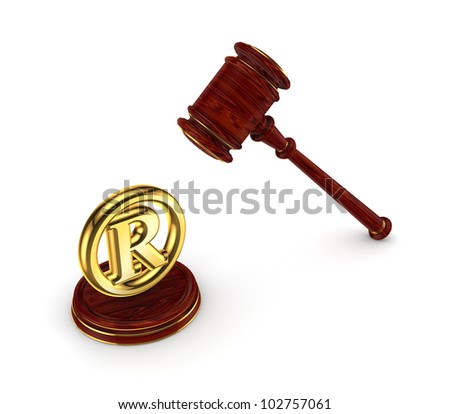 Wooden hammer and copyright symbol.Isolated on white background.3d rendered. - stock photo