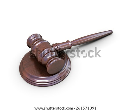 Wooden hammer of the judge on a white background. 3d illustration. - stock photo