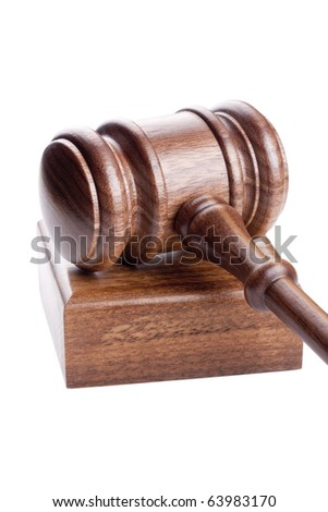 Wooden hammer used in court and in auctions. - stock photo