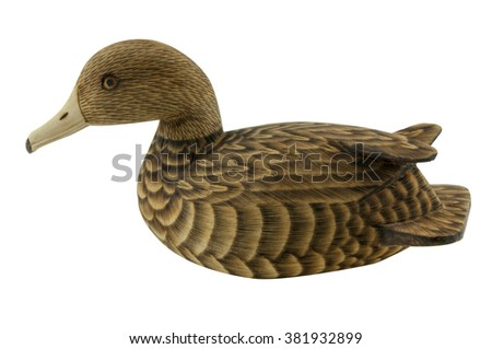 Wooden Hand carved Mallard Drake Decoy Duck isolated on white