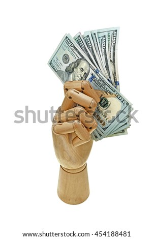 wooden hand hold bank notes on white background