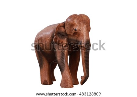 Wooden hand made elephant isolated on white
