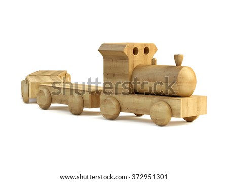 Wooden  handmade toy train isolated on a white background.  - stock photo