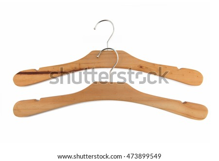 wooden hanger for clothes on white background