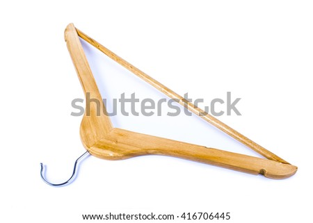 Wooden hanger, isolated