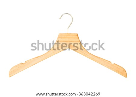 wooden hanger isolated on white background