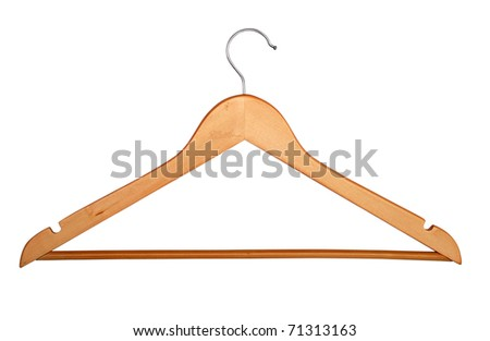 Wooden hanger isolated over white background - stock photo