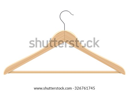 Wooden hanger on a white background
