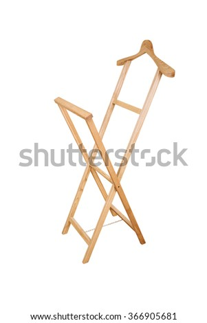 Wooden hanger stand isolated on the white background