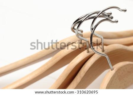 wooden hangers - stock photo