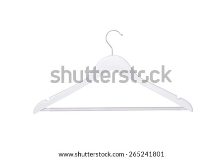 Wooden hangers on isolated white background - stock photo