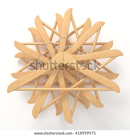 Wooden hangers, star arranged. 3D render illustration isolated on white background - stock photo