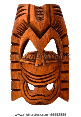 Wooden Hawaiian mask of love isolated