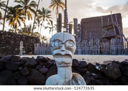 Wooden Hawaiian statues in Pua??uhonua o Honaunau National Historical Park, Big Island, Hawaii - stock photo