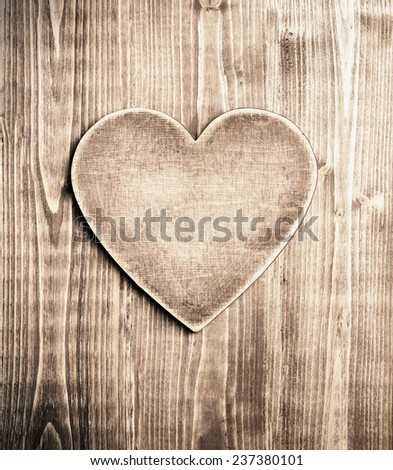 Wooden heart shape background - stock photo