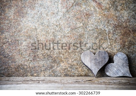 Wooden hearts rustic style. Greeting card. - stock photo