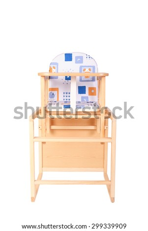 wooden high chair for baby feeding isolated on white