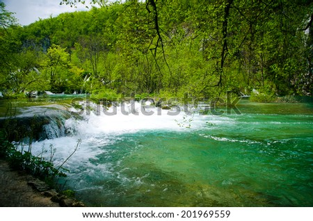 Wooden Hiking Trail in Plitvice National Park, flooding in nature