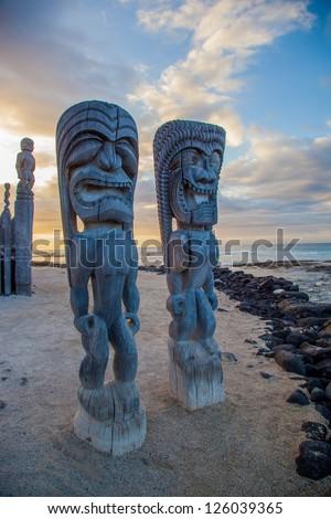 Wooden historical Hawaiian statues in Big Island, Hawaii - stock photo