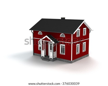 wooden home in scandinavian style isolated on white background - stock photo
