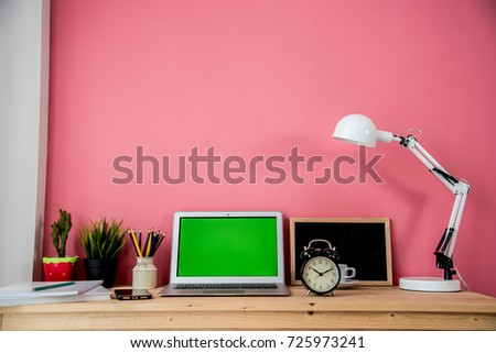 Wooden Home Office Desk Laptop Smartphone Stock Photo (100% Legal ...