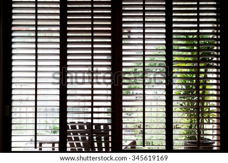 Wooden horizontal blinds , dark - stock photo