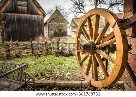 Wooden Horse Car Wheel - stock photo