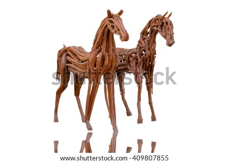wooden Horse isolated on white background