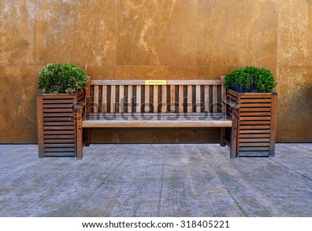 Wooden hotel Bench  - stock photo
