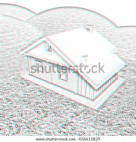 Wooden house against the background of fairytale landscape . Pencil drawing. 3D illustration. Anaglyph. View with red/cyan glasses to see in 3D. - stock photo