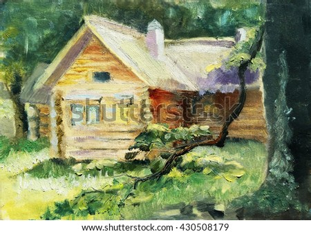 wooden house among forest on a sunny meadow. - stock photo