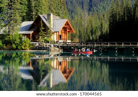 Wooden house at Emerald Lake, Yoho National Park, British Columbia, Canada - stock photo