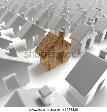 wooden house building - stock photo