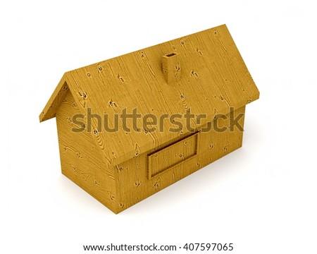 wooden house - 3D illustration - stock photo
