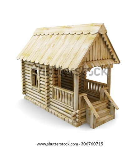 Wooden house from logs isolated on white background. 3d illustration. - stock photo