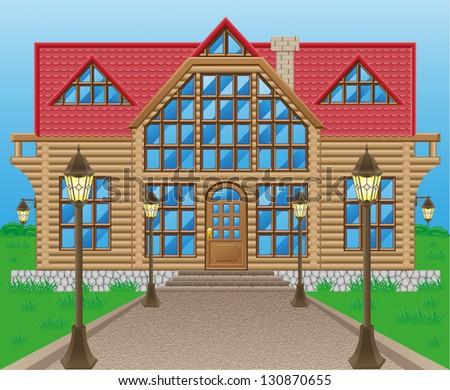 wooden house illustration on nature - stock photo